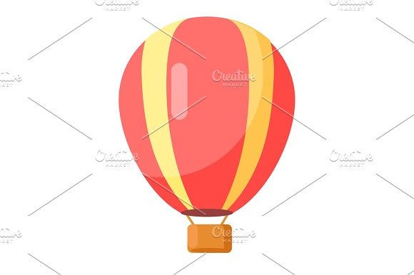 Red-Yellow Airballoon Icon Isolated On White