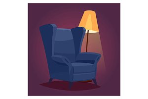 cozy chair in a dark room