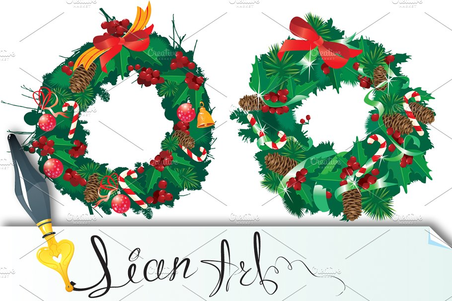 Christmas Garland Isolated On White