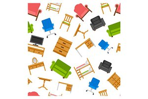 furniture vector seamless pattern