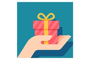 hand holding red gift box