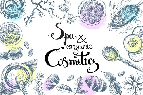 Spa And Organic Cosmetics Vector