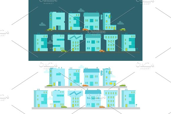 Real Estate The Word Illustration Alphabet Letters-buildings