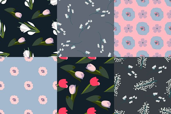 Set Of 6 Seamless Floral Patterns