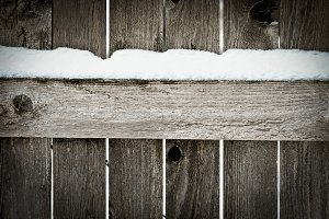 Snowy Fence with Blank Space