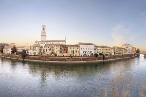 Old Verona town, view on river