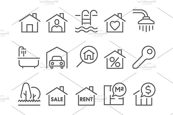 Real Estate Flat Thin Line Icons