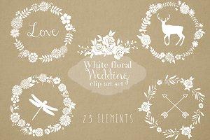 White floral clip art set