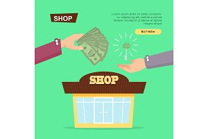 Buying Shop Online. Property Selling. Web Banner.