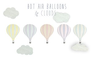 Hot air balloons clip art set 1