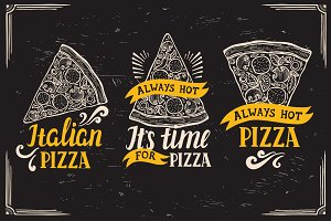 Pizza logo, food illustration
