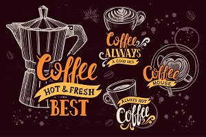 Coffee shop logo illustration