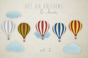 Hot air balloons clip art set 2