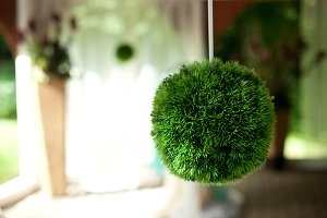 Green ball hangs from the ceiling