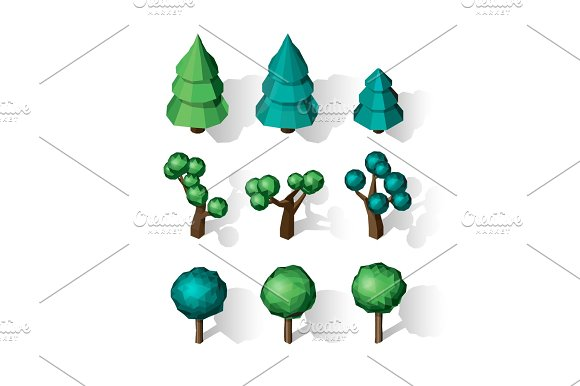 Isometric Vector Tree Set Landscape Constructor Kit
