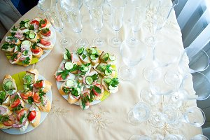 Canapes on the white plates
