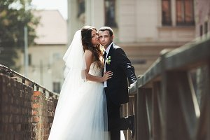 Groom and bride on the bridge