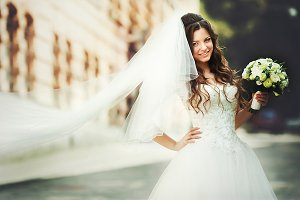 Smiling bride with bright face