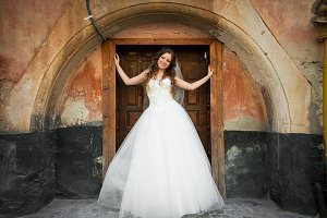 Bride stands in the wooden entrance