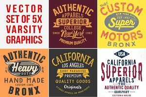 VECTOR SET OF VINTAGE VARSITY GRPHCS