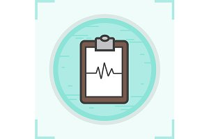 Cardiogram clipboard icon. Vector