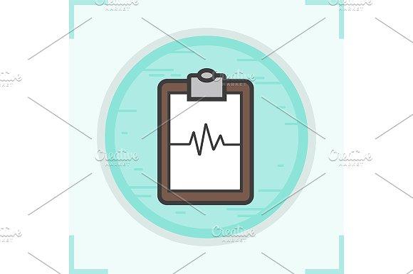 Cardiogram Clipboard Icon Vector