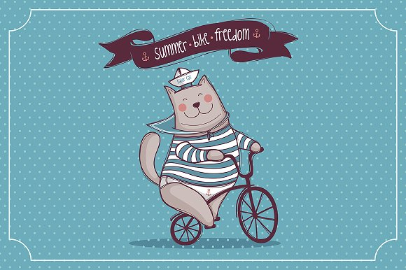 Illustration Cat. Bike. Freedom - Illustrations