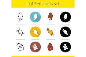 Sweets. 12 icons. Vector