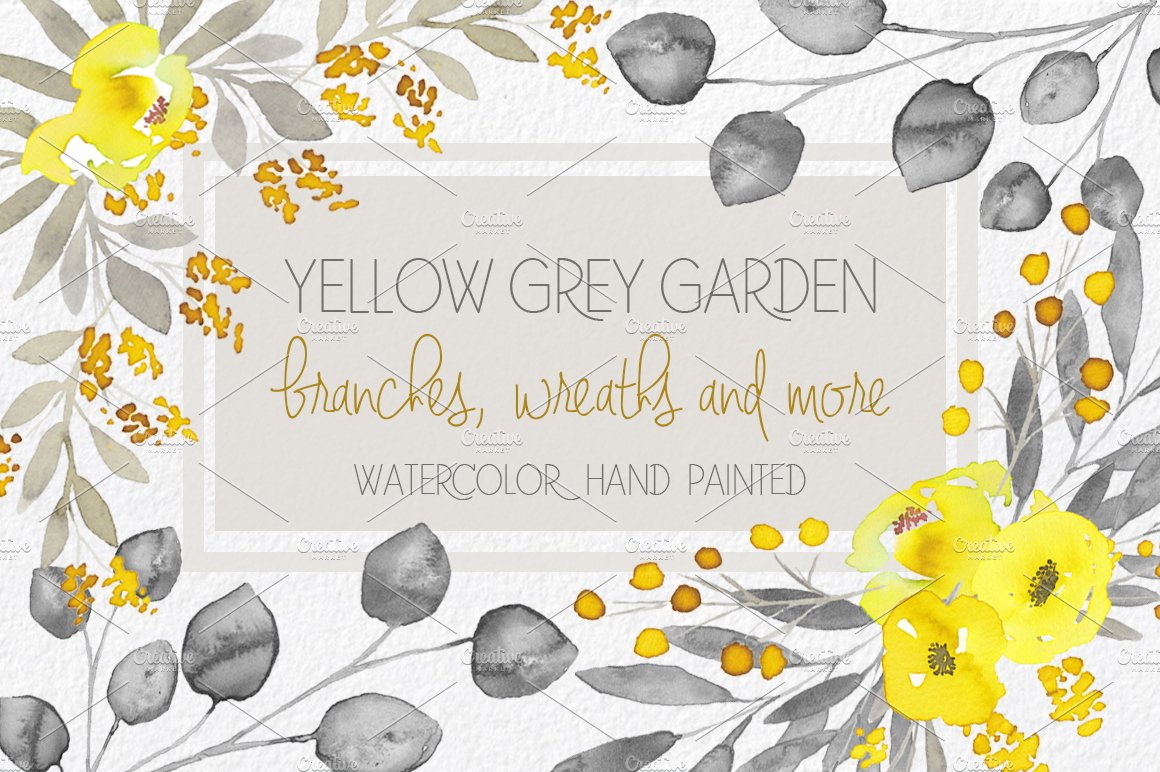 Yellow Grey Flowers Hand Painted Illustrations Creative Market