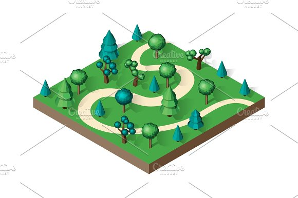 Isometric View Projection Summer Landscape