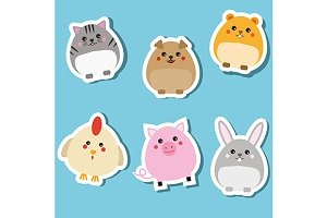 Cute animals stickers set