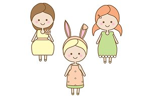 Cute little girls. eps jpg