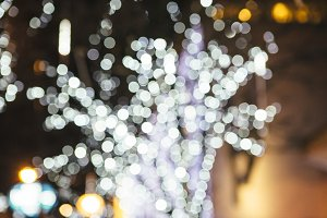 White and purple bokeh lights