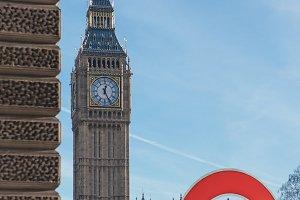 Underground sign Big Ben in London