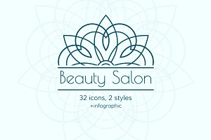 Beauty Salon. 32 icon set. 2 styles
