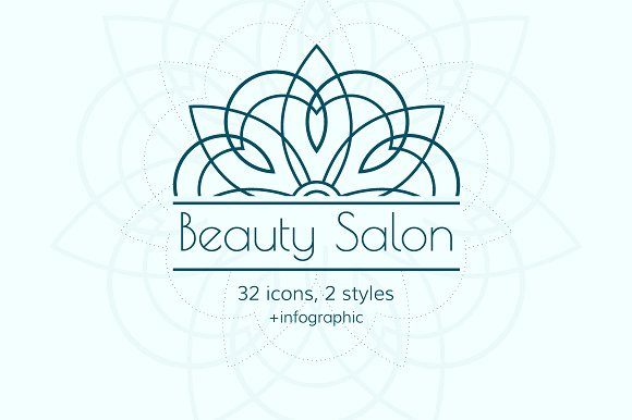 Beauty Salon 32 Icon Set 2 Styles