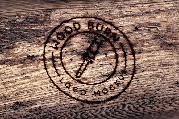 Wood burn logo mockup product mockups creative market wood burn logo mockup product mockups maxwellsz