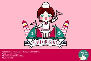 Digital Clipart Sailor Girl