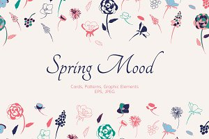 Spring Mood. Cards, pattern, element