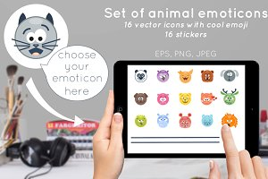 Set of vector animal emoticons