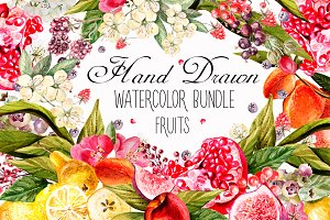 Hand Drawn Watercolor Bundle FRUITS