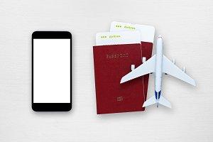 Smartphone, plane tickets, passports