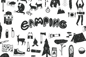 Camping. Graphic Set