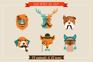 Hipster Animals & 22 icons