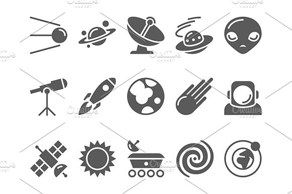 Space Cosmos And Astronomy Icons