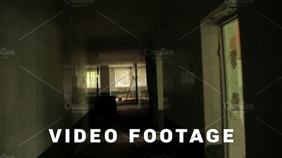 Camera Flying In The Hallway Of The Abandoned House POV Steadycam