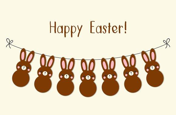 Happy Easter Cute Bunnies Garland