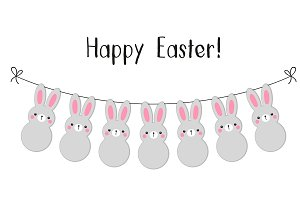 Happy Easter cute bunnies garland