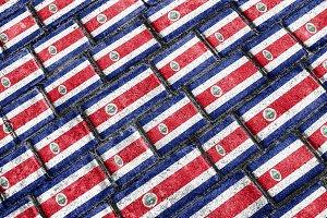 Costa Rica Flag Urban Grunge Pattern