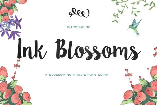 Ink Blossoms Brush Script